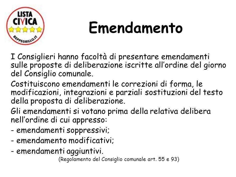 Emendamento I Consiglieri hanno facoltà di presentare emendamenti sulle proposte di deliberazione iscritte allordine del giorno del Consiglio comunale