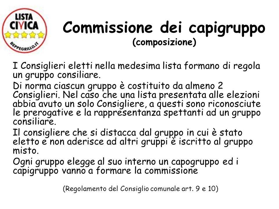 Commissione dei capigruppo (composizione) I Consiglieri eletti nella medesima lista formano di regola un gruppo consiliare. Di norma ciascun gruppo è