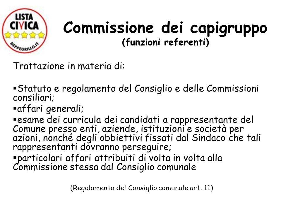 Commissione dei capigruppo (funzioni referenti) Trattazione in materia di: Statuto e regolamento del Consiglio e delle Commissioni consiliari; affari