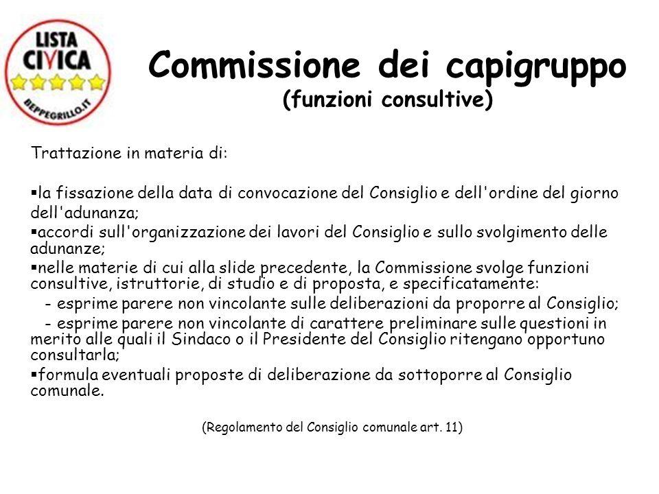 Commissione dei capigruppo (funzioni consultive) Trattazione in materia di: la fissazione della data di convocazione del Consiglio e dell'ordine del g