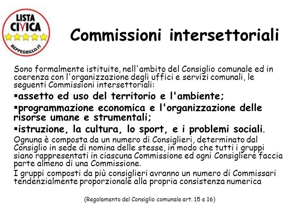 Commissioni intersettoriali Sono formalmente istituite, nell'ambito del Consiglio comunale ed in coerenza con l'organizzazione degli uffici e servizi
