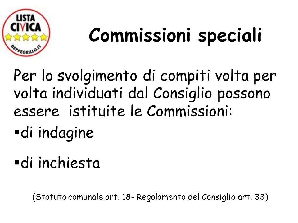 Commissioni speciali Per lo svolgimento di compiti volta per volta individuati dal Consiglio possono essere istituite le Commissioni: di indagine di i