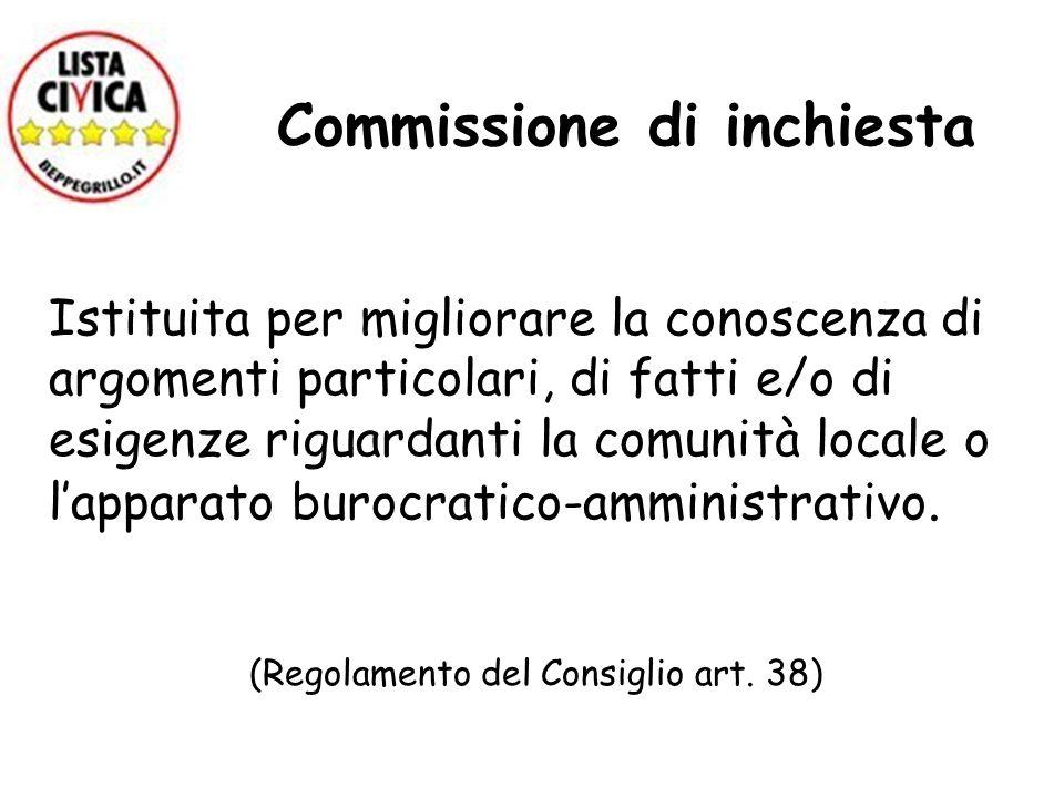 Commissione di inchiesta Istituita per migliorare la conoscenza di argomenti particolari, di fatti e/o di esigenze riguardanti la comunità locale o la