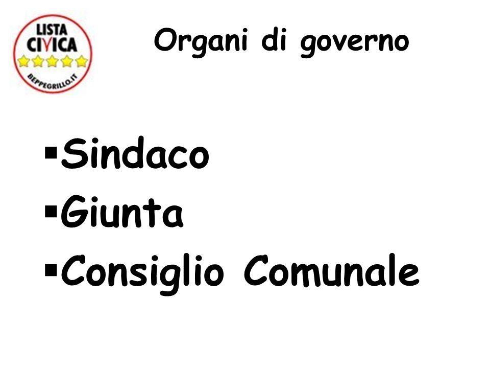 Organi di governo Sindaco Giunta Consiglio Comunale
