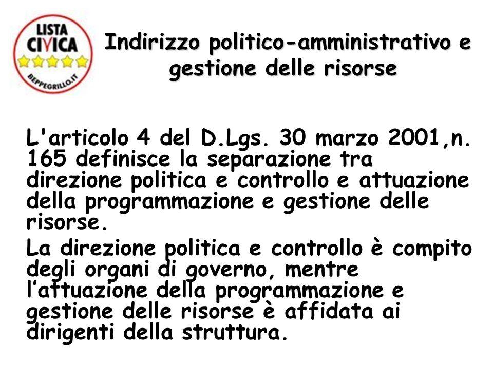 Indirizzo politico-amministrativo e gestione delle risorse L'articolo 4 del D.Lgs. 30 marzo 2001,n. 165 definisce la separazione tra direzione politic