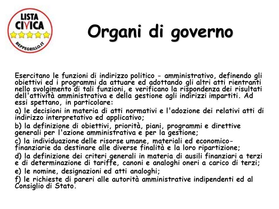 Organi di governo Esercitano le funzioni di indirizzo politico - amministrativo, definendo gli obiettivi ed i programmi da attuare ed adottando gli al