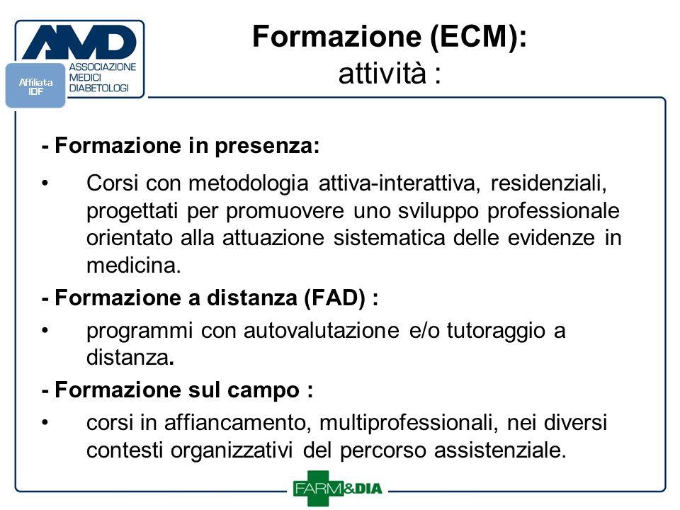 Formazione (ECM): attività : - Formazione in presenza: Corsi con metodologia attiva-interattiva, residenziali, progettati per promuovere uno sviluppo professionale orientato alla attuazione sistematica delle evidenze in medicina.