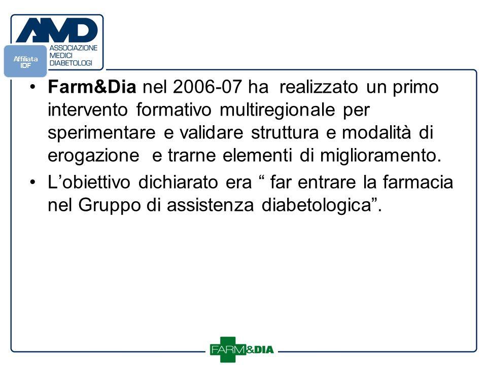 Farm&Dia nel 2006-07 ha realizzato un primo intervento formativo multiregionale per sperimentare e validare struttura e modalità di erogazione e trarne elementi di miglioramento.