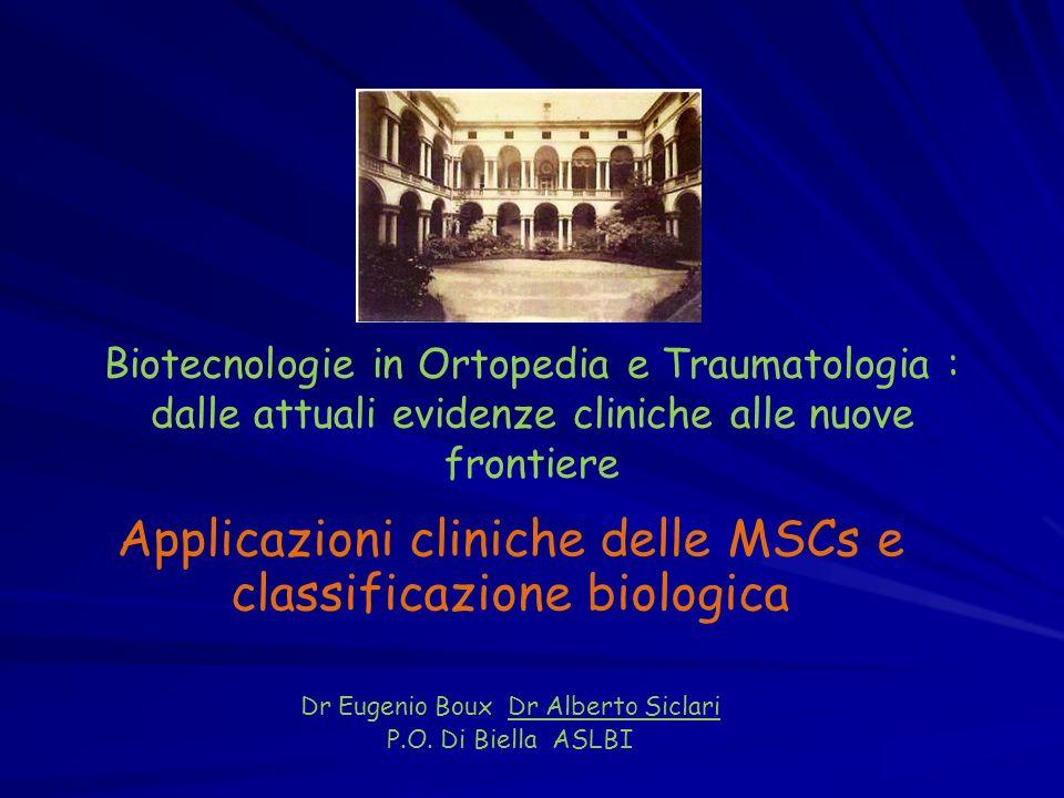 Biotecnologie in Ortopedia e Traumatologia : dalle attuali evidenze cliniche alle nuove frontiere Applicazioni cliniche delle MSCs e classificazione b