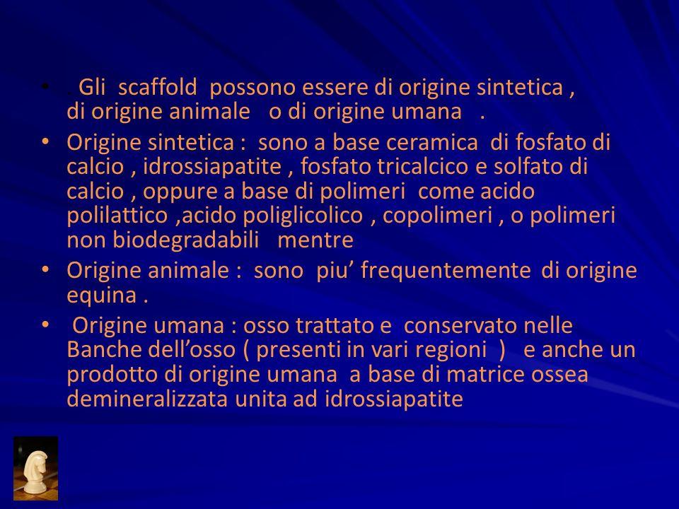 . Gli scaffold possono essere di origine sintetica, di origine animale o di origine umana. Origine sintetica : sono a base ceramica di fosfato di calc