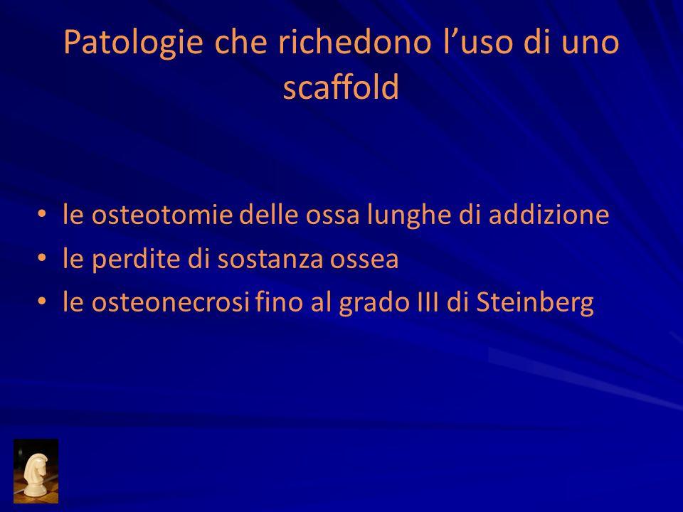 Patologie che richedono luso di uno scaffold le osteotomie delle ossa lunghe di addizione le perdite di sostanza ossea le osteonecrosi fino al grado I