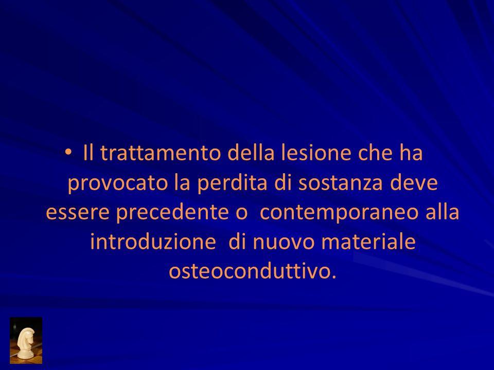 Il trattamento della lesione che ha provocato la perdita di sostanza deve essere precedente o contemporaneo alla introduzione di nuovo materiale osteo