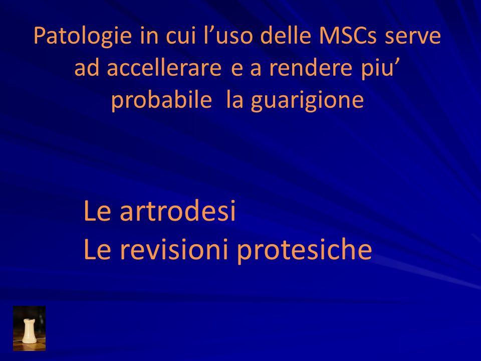 Patologie in cui luso delle MSCs serve ad accellerare e a rendere piu probabile la guarigione Le artrodesi Le revisioni protesiche