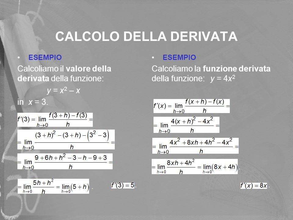 CALCOLO DELLA DERIVATA ESEMPIO Calcoliamo il valore della derivata della funzione: y = x 2 – x in x = 3. ESEMPIO Calcoliamo la funzione derivata della