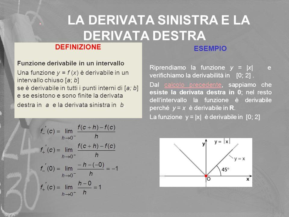 . LA DERIVATA SINISTRA E LA DERIVATA DESTRA ESEMPIO Riprendiamo la funzione y = |x| e verifichiamo la derivabilità in[0; 2]. Dal calcolo precedente, s