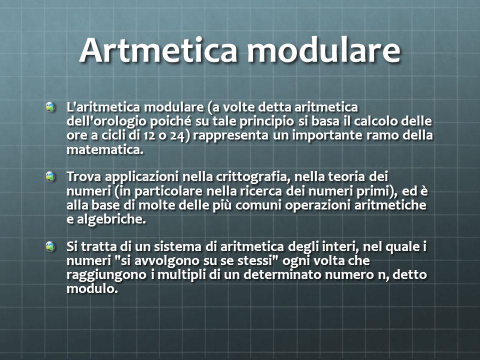 Artmetica modulare L aritmetica modulare (a volte detta aritmetica dell orologio poiché su tale principio si basa il calcolo delle ore a cicli di 12 o 24) rappresenta un importante ramo della matematica.