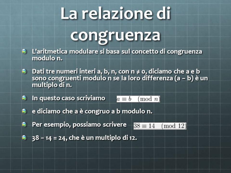 La relazione di congruenza L aritmetica modulare si basa sul concetto di congruenza modulo n.