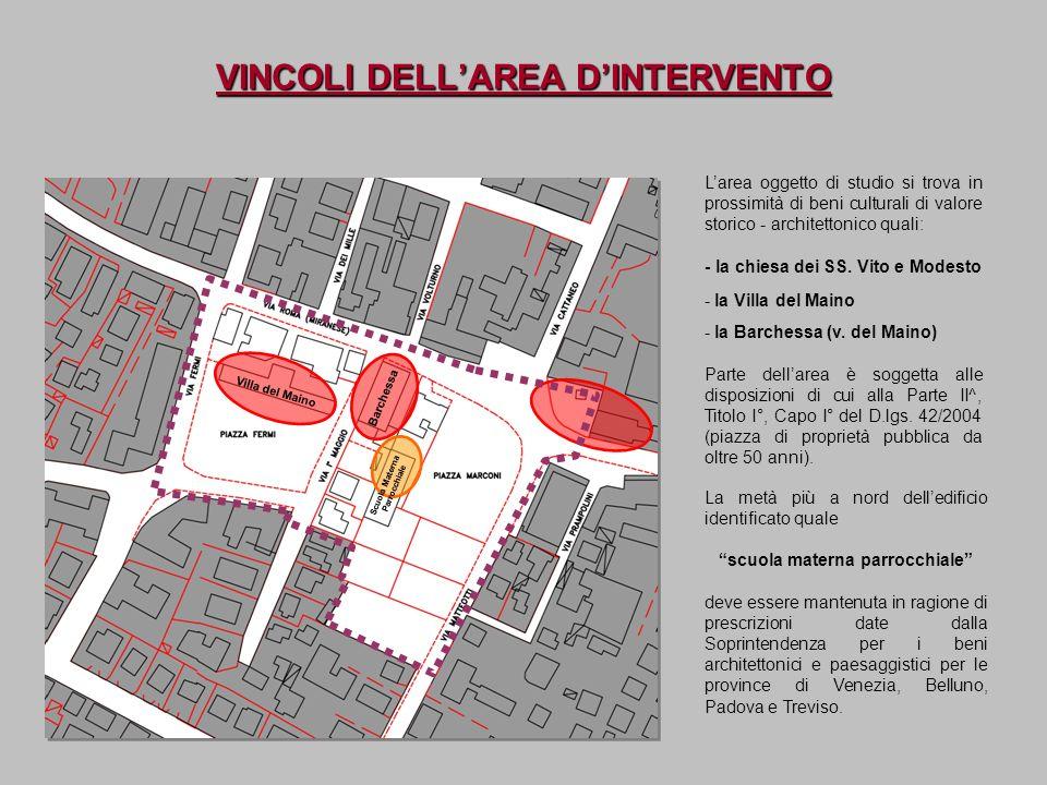 VINCOLI DELLAREA DINTERVENTO Villa del Maino Barchessa Larea oggetto di studio si trova in prossimità di beni culturali di valore storico - architetto
