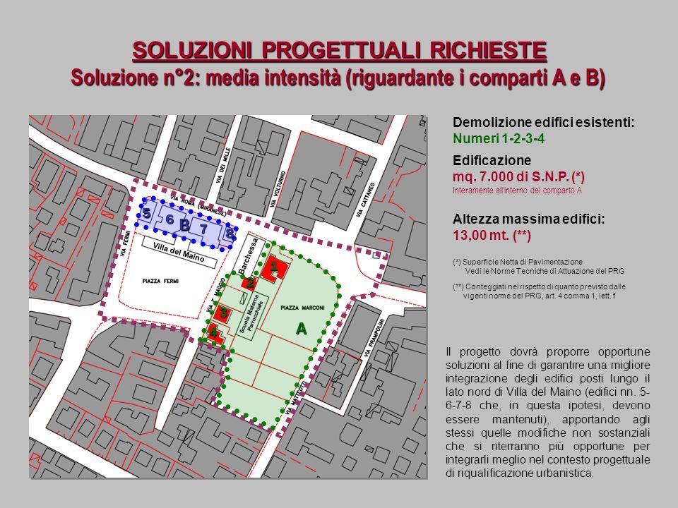 SOLUZIONI PROGETTUALI RICHIESTE Demolizione edifici esistenti: Numeri 1-2-3-4 Soluzione n°2: media intensità (riguardante i comparti A e B) Villa del