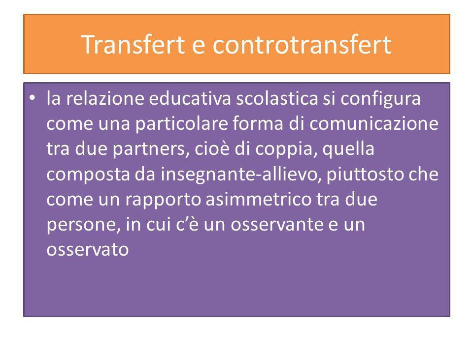 Transfert e controtransfert la relazione educativa scolastica si configura come una particolare forma di comunicazione tra due partners, cioè di coppia, quella composta da insegnante-allievo, piuttosto che come un rapporto asimmetrico tra due persone, in cui cè un osservante e un osservato