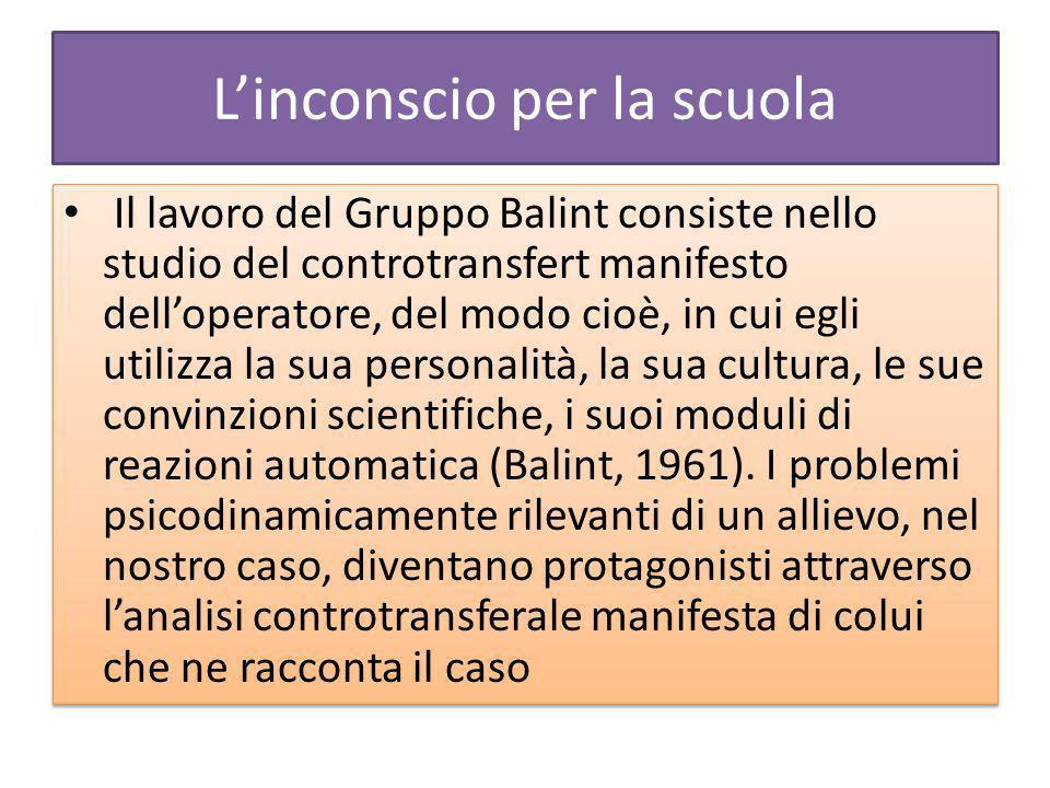 Linconscio per la scuola Il lavoro del Gruppo Balint consiste nello studio del controtransfert manifesto delloperatore, del modo cioè, in cui egli utilizza la sua personalità, la sua cultura, le sue convinzioni scientifiche, i suoi moduli di reazioni automatica (Balint, 1961).