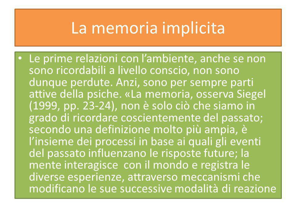 La memoria implicita Le prime relazioni con lambiente, anche se non sono ricordabili a livello conscio, non sono dunque perdute.