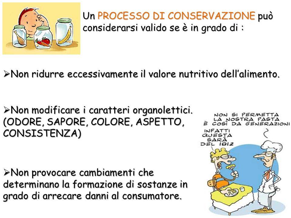 Un PROCESSO DI CONSERVAZIONE può considerarsi valido se è in grado di : Non ridurre eccessivamente il valore nutritivo dellalimento.