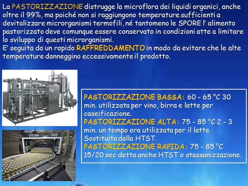 PASTORIZZAZIONE BASSA: 60 - 65 °C 30 min.utilizzata per vino, birra e latte per caseificazione.
