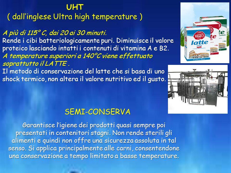 A più di 115° C, dai 20 ai 30 minuti.Rende i cibi batteriologicamente puri.