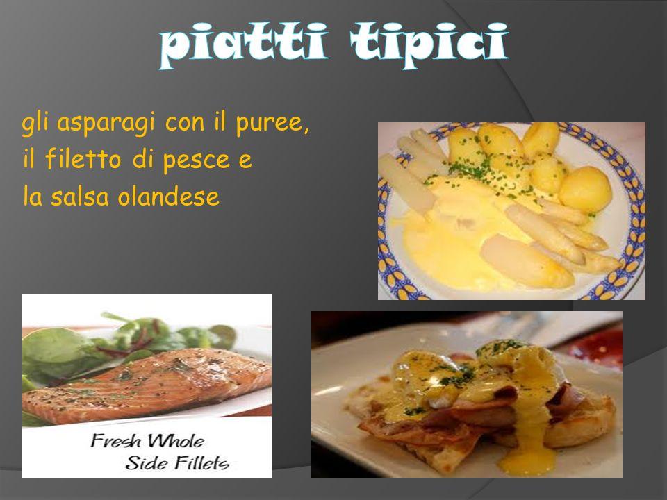 gli asparagi con il puree, il filetto di pesce e la salsa olandese
