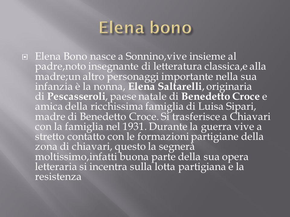 Elena Bono nasce a Sonnino,vive insieme al padre,noto insegnante di letteratura classica,e alla madre;un altro personaggi importante nella sua infanzi