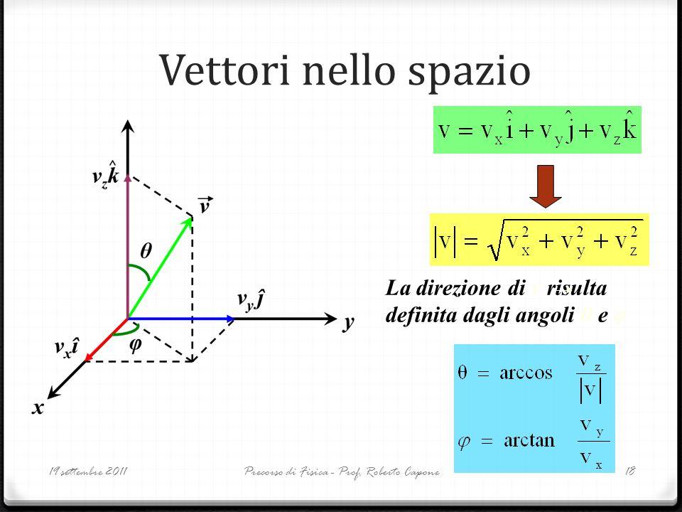 Vettori nello spazio 19 settembre 2011Precorso di Fisica - Prof. Roberto Capone18 La direzione di v risulta definita dagli angoli θ e φ