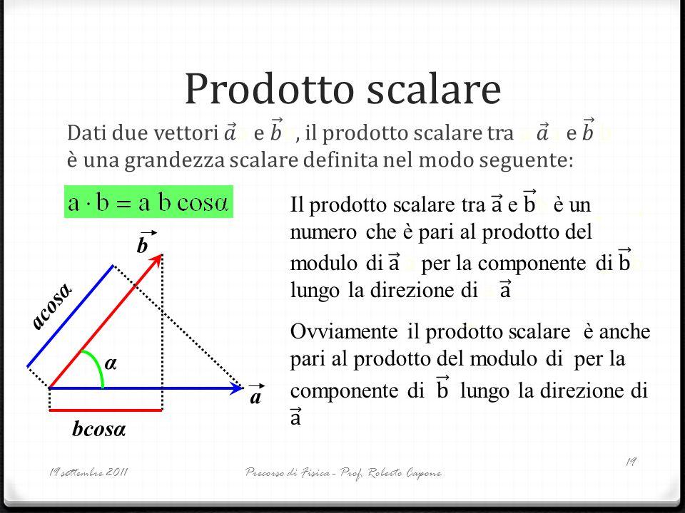Prodotto scalare 19 settembre 2011Precorso di Fisica - Prof. Roberto Capone 19 a b α bcosα acosα