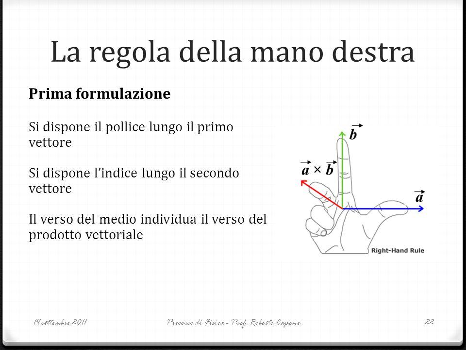 La regola della mano destra 19 settembre 2011Precorso di Fisica - Prof. Roberto Capone22 Prima formulazione Si dispone il pollice lungo il primo vetto