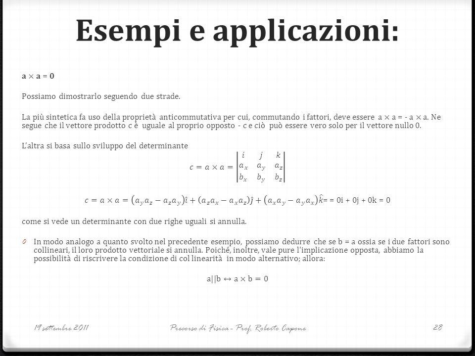 Esempi e applicazioni: 19 settembre 2011Precorso di Fisica - Prof. Roberto Capone28