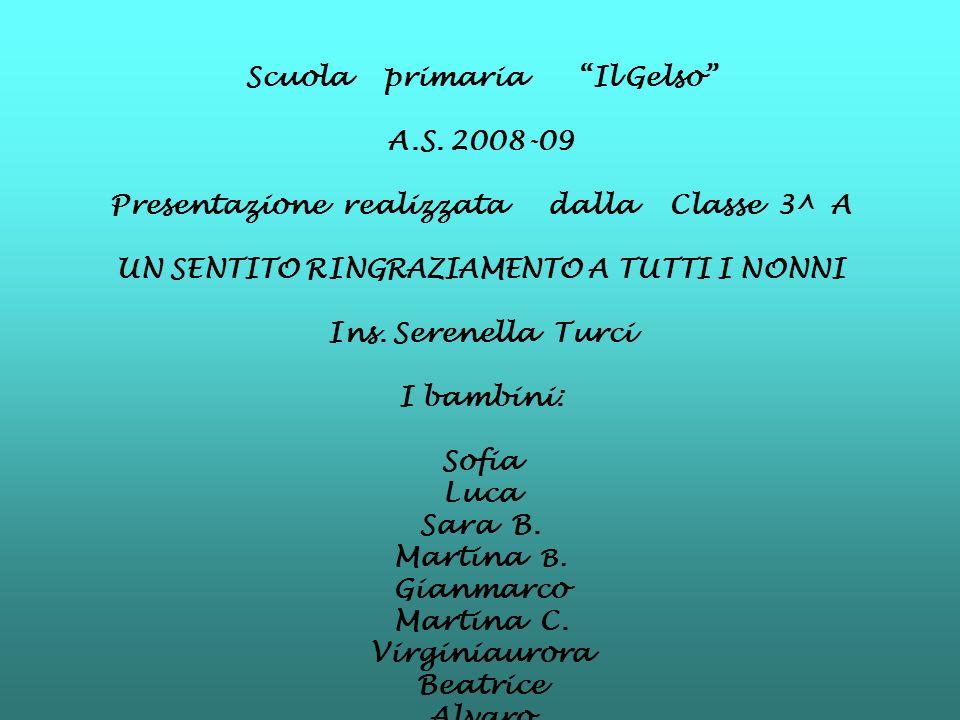 Scuola primaria Il Gelso A.S. 2008-09 Presentazione realizzata dalla Classe 3^ A UN SENTITO RINGRAZIAMENTO A TUTTI I NONNI Ins. Serenella Turci I bamb