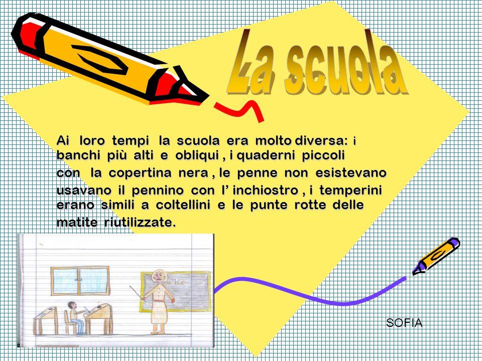 Ai loro tempi la scuola era molto diversa: i banchi più alti e obliqui, i quaderni piccoli con la copertina nera, le penne non esistevano usavano il p
