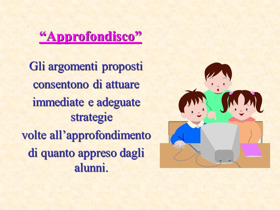 Gli argomenti proposti consentono di attuare immediate e adeguate strategie volte allapprofondimento di quanto appreso dagli alunni.
