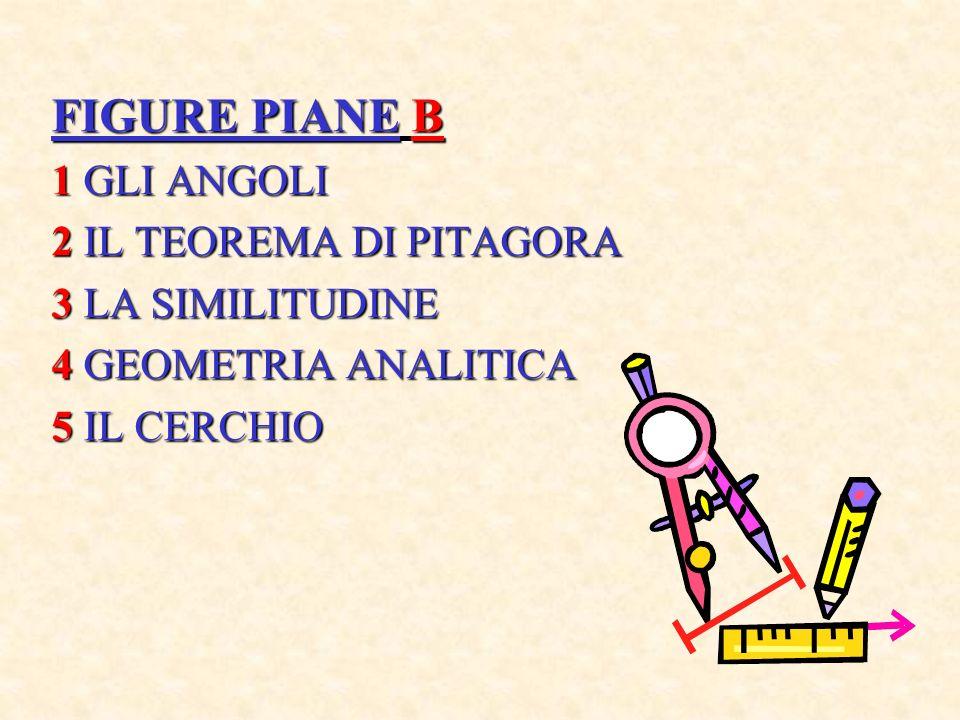 FIGURE PIANE B 1 GLI ANGOLI 2 IL TEOREMA DI PITAGORA 3 LA SIMILITUDINE 4 GEOMETRIA ANALITICA 5 IL CERCHIO
