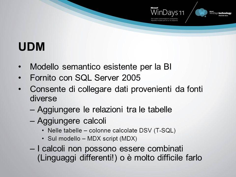 UDM Modello semantico esistente per la BI Fornito con SQL Server 2005 Consente di collegare dati provenienti da fonti diverse –Aggiungere le relazioni tra le tabelle –Aggiungere calcoli Nelle tabelle – colonne calcolate DSV (T-SQL) Sul modello – MDX script (MDX) –I calcoli non possono essere combinati (Linguaggi differenti!) o è molto difficile farlo
