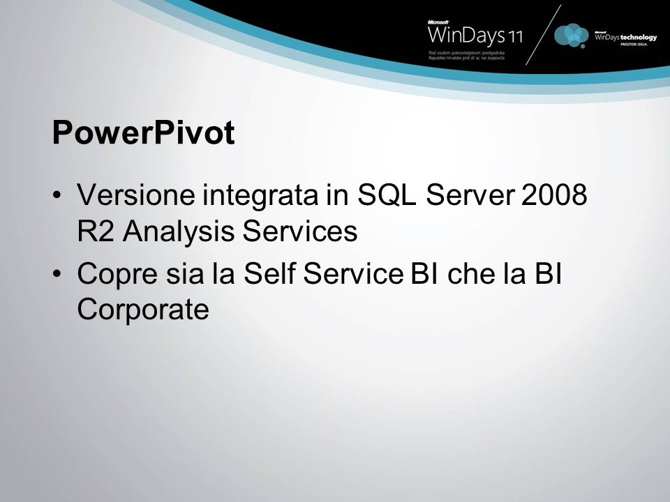 PowerPivot Versione integrata in SQL Server 2008 R2 Analysis Services Copre sia la Self Service BI che la BI Corporate