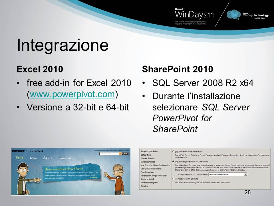 Integrazione Excel 2010SharePoint 2010 free add-in for Excel 2010 (www.powerpivot.com)www.powerpivot.com Versione a 32-bit e 64-bit SQL Server 2008 R2 x64 Durante linstallazione selezionare SQL Server PowerPivot for SharePoint 25