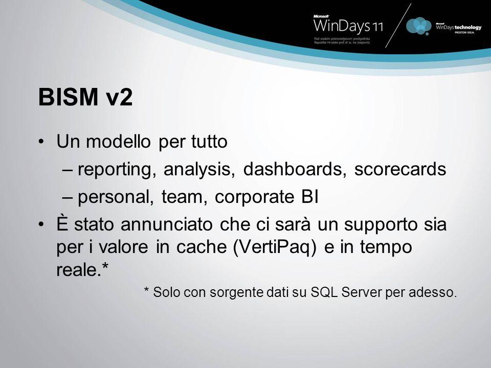 BISM v2 Un modello per tutto –reporting, analysis, dashboards, scorecards –personal, team, corporate BI È stato annunciato che ci sarà un supporto sia per i valore in cache (VertiPaq) e in tempo reale.* * Solo con sorgente dati su SQL Server per adesso.