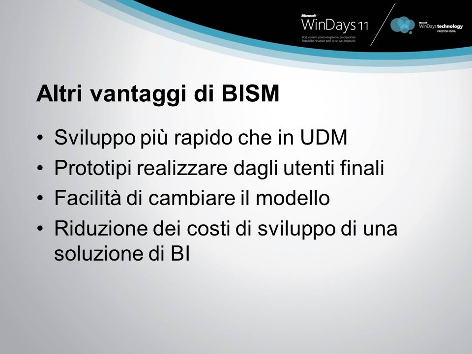 Altri vantaggi di BISM Sviluppo più rapido che in UDM Prototipi realizzare dagli utenti finali Facilità di cambiare il modello Riduzione dei costi di sviluppo di una soluzione di BI