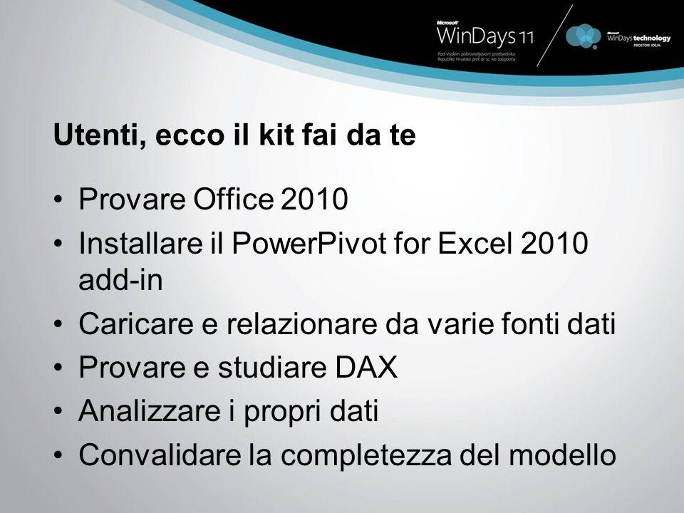 Utenti, ecco il kit fai da te Provare Office 2010 Installare il PowerPivot for Excel 2010 add-in Caricare e relazionare da varie fonti dati Provare e studiare DAX Analizzare i propri dati Convalidare la completezza del modello