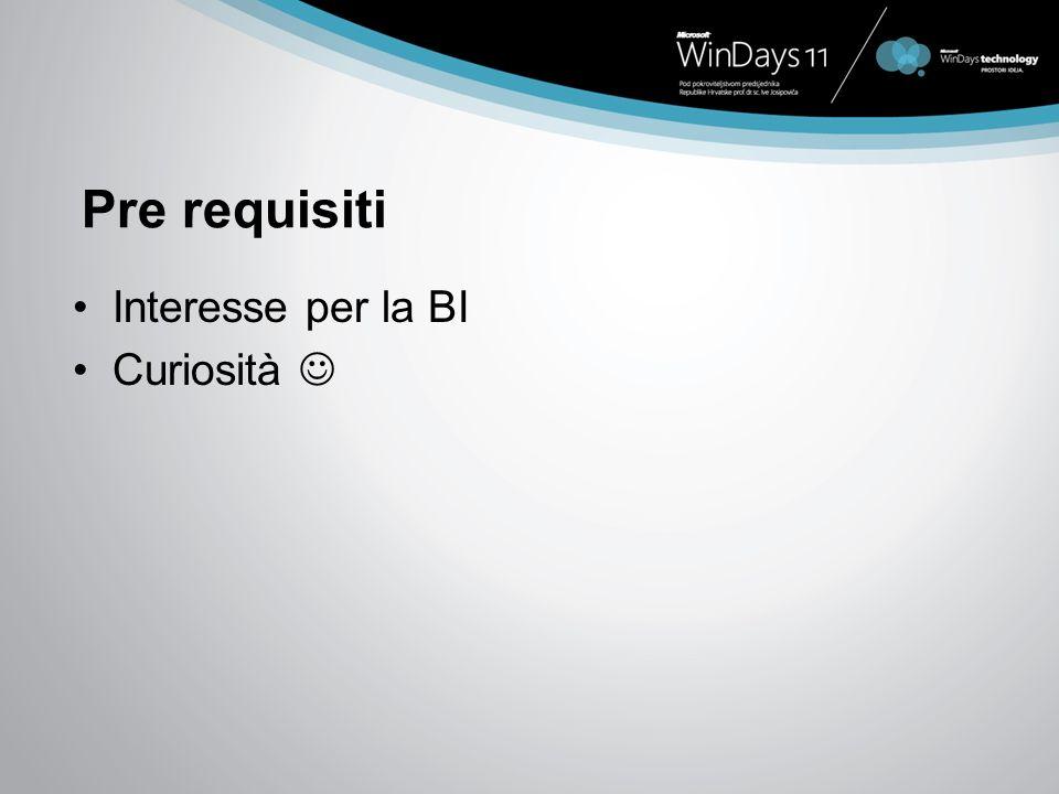 Pre requisiti Interesse per la BI Curiosità