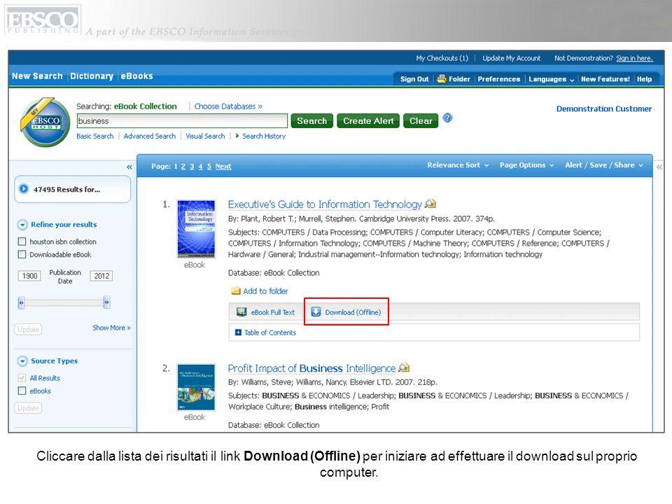 Cliccare dalla lista dei risultati il link Download (Offline) per iniziare ad effettuare il download sul proprio computer.