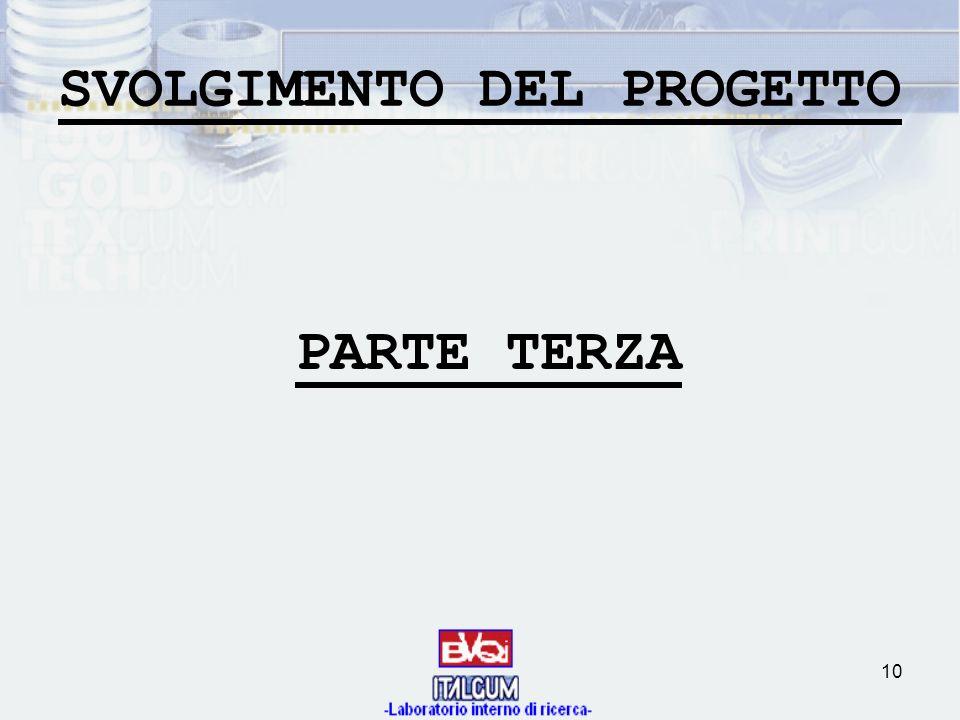 10 SVOLGIMENTO DEL PROGETTO PARTE TERZA