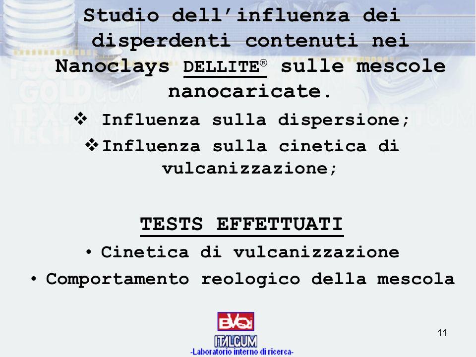 11 Studio dellinfluenza dei disperdenti contenuti nei Nanoclays DELLITE ® sulle mescole nanocaricate. Influenza sulla dispersione; Influenza sulla cin