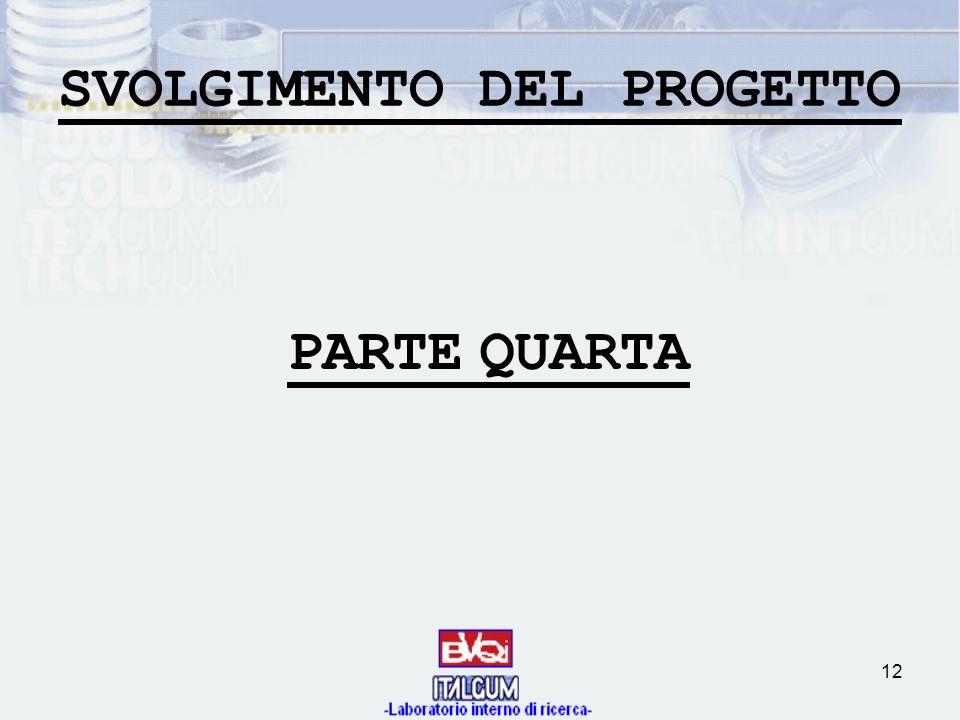 12 SVOLGIMENTO DEL PROGETTO PARTEQUARTA